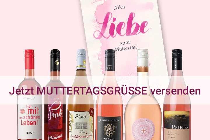 Ganz persönliche Muttertagsgrüße versenden Weinpaket Roséweine mit individueller Grußkarte Hunfeld Wein online bestellen