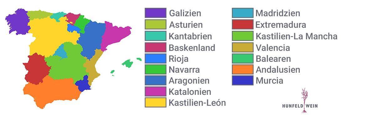 Landekarte Anbaugebiete Wein Spanien