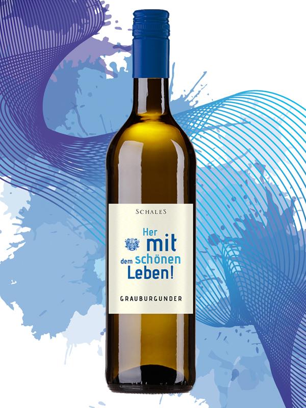 Grauburgunder Grauer Burgunder Leben Spruch Etikett Schales Wein